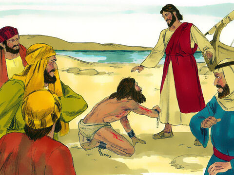 But instead of attacking Jesus, he fell on his knees before Him. Jesus ordered, 'Come out of this man you unclean spirit.' The troubled man shouted at the top of his voice, 'What do you want with me Jesus, Son of the Most High God?' – Slide 6