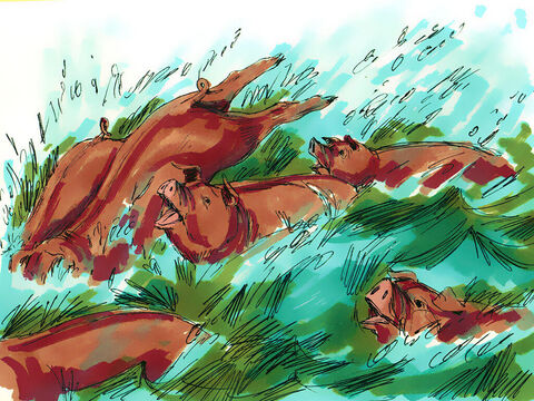 Jesus commanded the demons to leave the man and enter the pigs. When they did so, the pigs stampeded down the steep bank into the lake and were drowned. – Slide 9