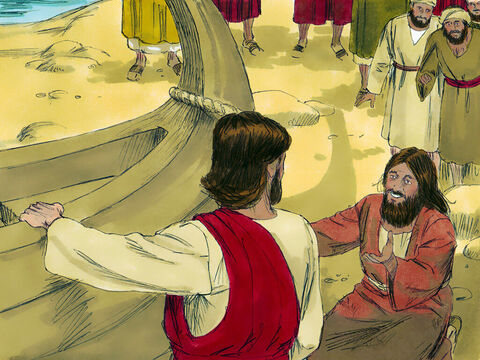 The pig herders rushed into the nearby town to report what had happened. When they arrived on the shore they saw the man who had been so troubled, properly dressed, calm, and perfectly sane. They were so afraid of Jesus' power they begged Him to leave. – Slide 10
