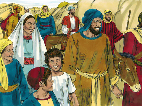 At the end of the festival Mary and Joseph joined others from Galilee making the trip home. They thought Jesus was with their relatives and friends in the crowd on the return journey. – Slide 3