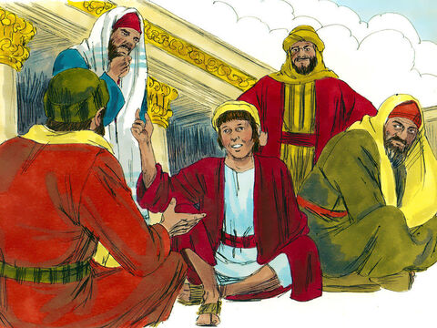 Having searched and searched they went into the Temple and suddenly they saw Him. Jesus was sitting with the teachers of God's law. – Slide 6