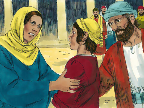 'Son, why have you treated us like this?' asked Mary. 'Joseph and I have been anxiously searching for you.' – Slide 8
