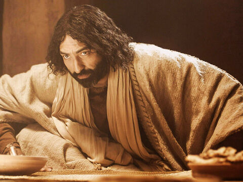 Jesus got up, took off His outer garment, and wrapped a towel around his waist. – Slide 3