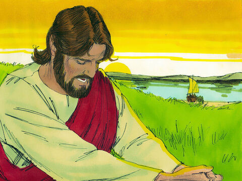 After dismissing the crowds, Jesus climbed up the side of a mountain to pray. – Slide 2