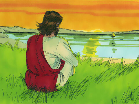 As it got dark Jesus, Jesus could see the disciples had rowed 3-4 miles (5-6 km). They were straining at the oars as the wind was against them and waves were buffeting the boat. – Slide 3