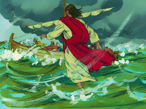 Shortly before dawn Jesus finished praying and started walking the quickest way back to Capernaum - across the sea. – Slide 4