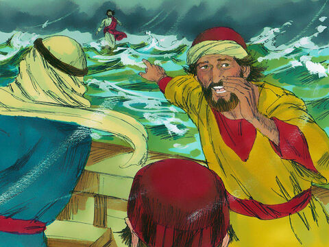 He was going to walk past the boat but the disciples spotted Him. 'It's a ghost!' they cried out in terror. – Slide 5