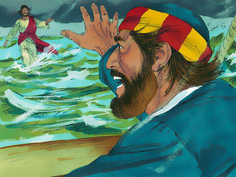 'Lord, if it is you,' Peter asked. 'Tell me to walk on the water to you.' 'Come,' Jesus answered. – Slide 7