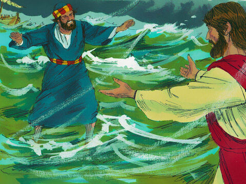 Peter got out of the boat and started to walk towards Jesus. But as he heard the sound of the wind and saw the waves he started to doubt he could stay afloat. – Slide 8