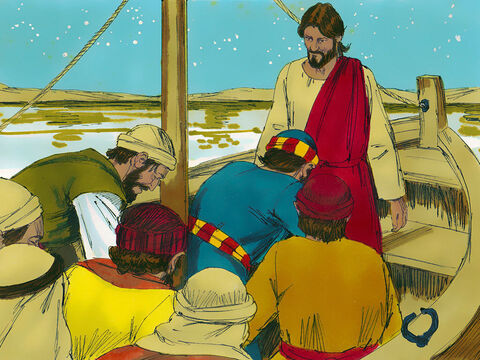 The disciples were utterly amazed and worshipped Jesus. 'You really are the Son of God,' they exclaimed. Almost immediately the boat reached the shore. – Slide 11