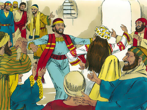 Jesus and his disciples, along with his mother Mary, were invited to a wedding at Cana in Galilee. (Wedding celebrations often went on for a week). – Slide 1