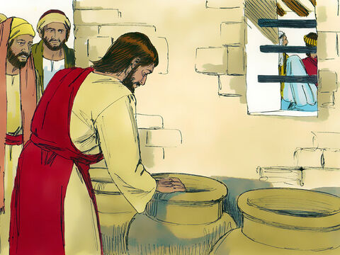 Nearby were some very large jars of water (used by the Jews for ceremonial washing). Each held between 20-30 gallons (75-115 litres) of water. – Slide 4