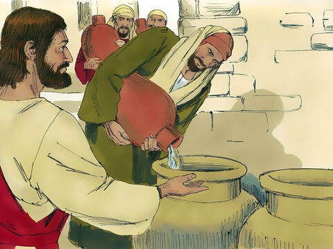 Jesus told the servants to fill the jars with water. They obeyed and filled each one to the brim. – Slide 5