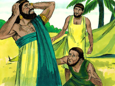 One day a messenger arrived to tell Job that the Sabeans had attacked and killed his servants and stolen his oxen and donkeys. As he was speaking another messenger arrived to say that the fire of God had fallen and burnt up his sheep. – Slide 4