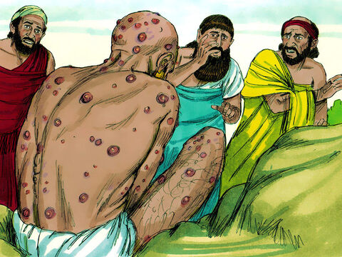 When Job's three friends, Eliphaz, Bildad and Zophar, heard about Job's troubles they set out to sympathise and comfort him. They hardly recognised the suffering man before them. They wept, tore their robes, sprinkled dust on their heads and sat with him for seven days and nights. No one said a word to Job as his suffering was so great. – Slide 10