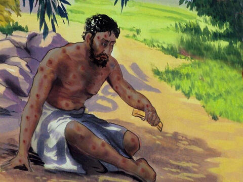 In great distress, Job cut his hair, and took some broken pottery to scratch his sores. – Slide 24