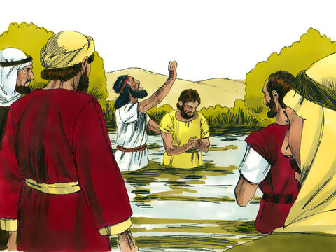 People from all around went into the wilderness to hear John preach. Many confessed their sins and were baptised by John in the River Jordan. – Slide 3
