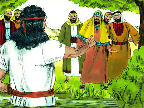 Priests and Levis were sent to question John. John told them he was preparing the way for Someone who lived among them and he was not worthy to untie the straps of that Person's sandals. John told them that he baptised with water but the One coming after him would baptise with the Holy Spirit and with fire. – Slide 4