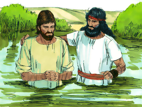 But Jesus insisted, 'Please do it, for I must do all that is right.'So John baptised Jesus. – Slide 8