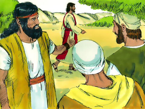 The next day, as John was standing with two of his disciples, Jesus walked by. John looked at him intently and then declared, 'See! There is the Lamb of God who takes away the sin of the world.' – Slide 10