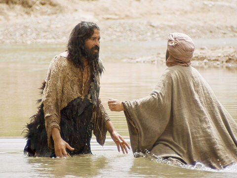 They confess their sins and are baptised by John in the River Jordan. – Slide 5
