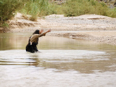When Jesus comes to be baptised, John protests that he should not be baptising Jesus but Jesus should be baptising him. – Slide 17