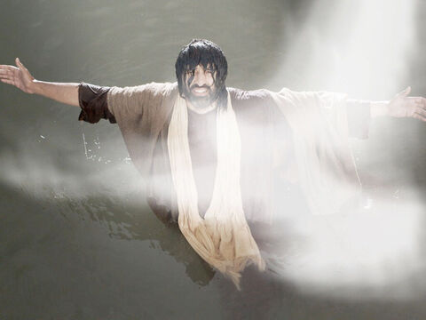 As soon as Jesus comes up out of the water the spirit of God descends like a dove on Him. – Slide 19