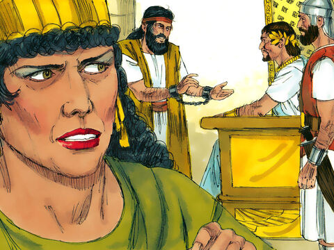 Herodias was furious with John, and Herod Antipas gave orders for him to be arrested and imprisoned in his fortress near the Dead Sea. Herod would sometimes summon John from his cell and question him about his beliefs but was puzzled by his answers. He realised however, that John was a holy man of God and was fearful of putting him to death. – Slide 4