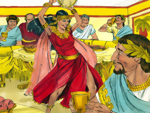 At the festivities, Salome, the daughter of Herodias, danced for the dinner guests. Her dance captivated everyone and pleased Herod Antipas who wanted to reward her. – Slide 6