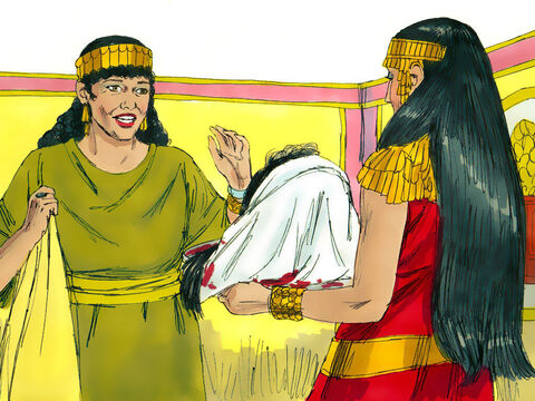 The executioner brought John's head on a platter to show the guests at the banquet. Herod presented it to Salome who gave it to her mother. – Slide 11