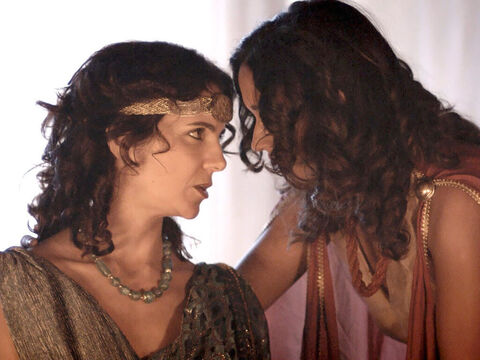 Salome goes outside the room to speak to her mother. 'What shall I ask for?' – Slide 14