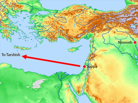 The boat was heading across the Mediterranean Sea to Tarshish – which was as far away in the opposite direction from Nineveh that you could go. – Slide 5