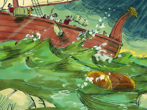 God was displeased with Jonah and sent a terrible storm. The wind was so fierce and the waves so big, the boat was about to sink. The frightened sailors threw all the cargo overboard to keep it afloat. – Slide 6