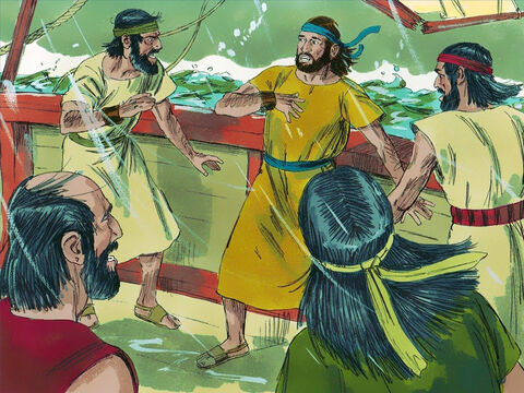 The storm continued to get worse. Finally Jonah confessed to the sailors, 'This storm is all my fault for I have run away from the Lord. Throw me into the sea and it will calm down.' – Slide 7
