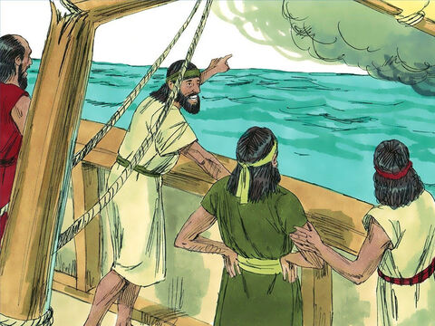 Immediately the wind dropped and the sea became calm. Jonah sunk under the water. But God has not finished with His disobedient prophet. He has prepared a great fish to swallow Jonah and keep him alive. – Slide 9