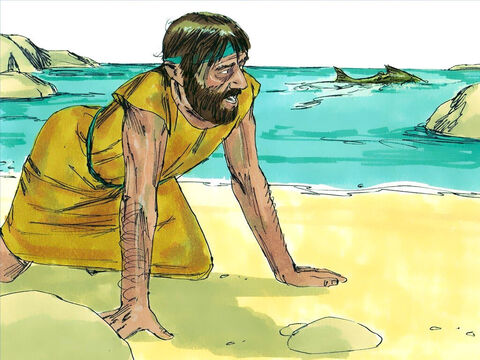 Three days and nights later the fish vomited Jonah up onto dry land. God had forgiven him and spared his life. – Slide 11