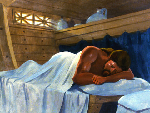 He went down into the ship and was soon fast asleep. – Slide 14