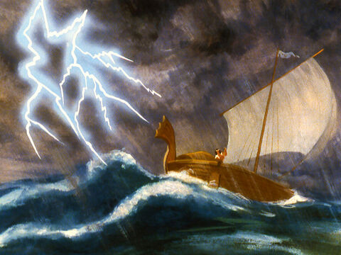 While Jonah slept God caused a storm the likes of which the sailors had never seen before. – Slide 15