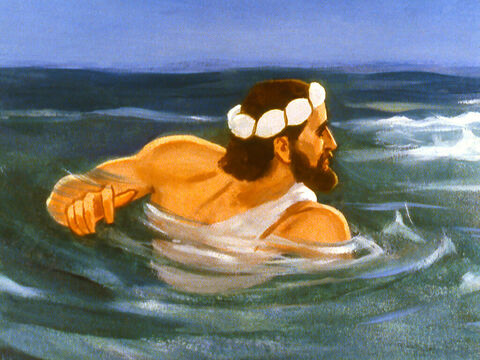 As Jonah floundered in the sea God sent a great fish that he had prepared. – Slide 24