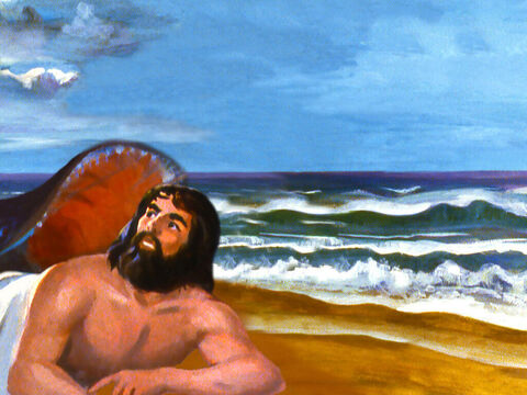 Then the Lord spoke to the fish and it vomited Jonah out onto dry land. – Slide 27