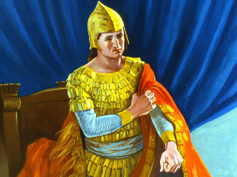 The King was so sorry for his wickedness he took off his rich royal garments. – Slide 32