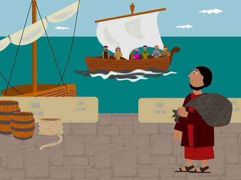 But Jonah did not want to go to Nineveh. He did not like the people there and wanted God to punish them not forgive them. So he ran away to the town of Joppa by the seaside. He saw a ship going to a far away place and decided to buy a ticket and get on it. He thought God would not be able to find him there. – Slide 2