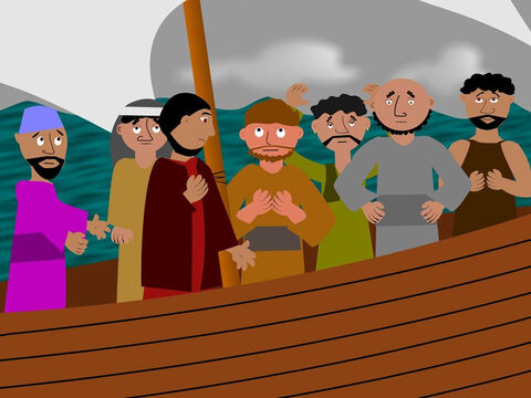 All the men were praying to their gods when the Captain noticed Jonah was still sleeping. He woke him and told him to pray to his God for help. Jonah explained the storm was his fault. God had sent it to stop Jonah from running away. 'If you throw me overboard,' Jonah said, 'the storm will stop.' The men did not want to do this and kept trying to save the ship from sinking. – Slide 5