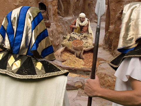 Joseph opened up the granaries and sold grain to the Egyptians. – Slide 6