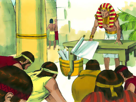 Since Joseph was governor of Egypt and in charge of selling grain, the brothers reported to him. When they arrived, they bowed before him with their faces to the ground.Joseph recognised his brothers instantly, but he pretended not to know them. 'Where are you from?' he demanded. 'From the land of Canaan,' they replied. – Slide 2