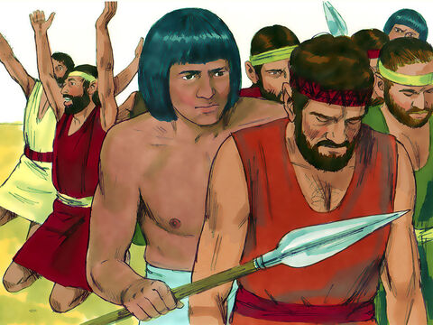When Joseph regained his composure, he chose Simeon and had him tied up right before their eyes and taken to prison. – Slide 9
