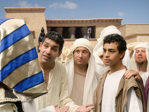 When they finally arrived in Egypt Joseph saw that his younger brother Benjamin was with them. – Slide 7