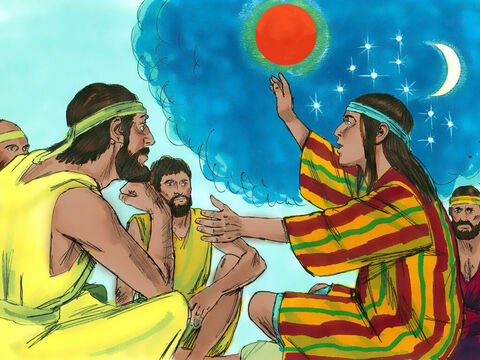 Later Joseph shared another dream with them: 'Listen,' he said, 'This time the sun and moon and eleven starswere bowing down to me.' – Slide 5