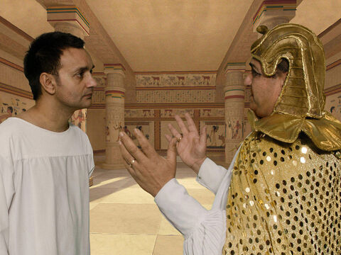 When news reached Pharaoh's palace about Joseph's brothers Pharaoh told Joseph, 'Tell your brothers to hurry back to the land of Canaan and get your father and all of your families, and return to Egypt. I will give you the very best land you will eat from the best that the land produces.' – Slide 1