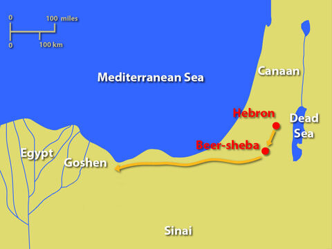 They then set off for Egypt. The number of Jacob's descendants, not counting his sons' wives, was sixty-six. As they neared their destination, Jacob sent Judah ahead to meet Joseph and get directions to the region of Goshen. – Slide 12